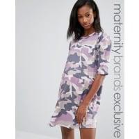Missguided MaternityT-Shirt-Kleid mit Tarnmuster - Violett