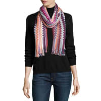 MissoniLong Metallic Fringe Zigzag Scarf, Pink/Purple