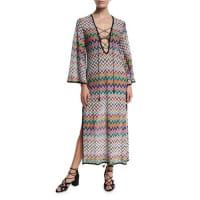 MissoniZigzag Lace-Up Maxi Beach Dress, Multicolor