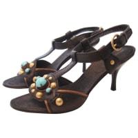 Miu MiuBlack Leather Sandals And Stones Size 38