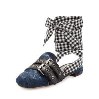 Miu MiuDenim/Ribbon Ankle-Wrap Slide Flat, Bleu