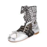 Miu MiuMetallic Belted Ankle-Wrap Ballerina Flat, Argento