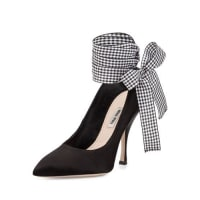 Miu MiuSatin Pointed-Toe Ankle-Wrap Pump, Nero