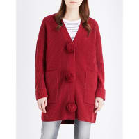Mo&co.Pom Pom-Detailed Wool Cardigan, Womens, Size: Large, Rumba Red