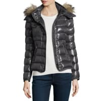 MonclerArmoise Shiny Quilted Jacket w/Fur Hood