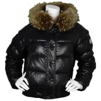 MonclerBlack Down Puffer Jacket W/ Raccoon Fur Hood Sz 5