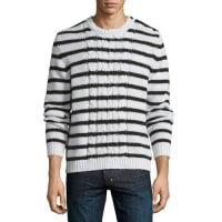 MonclerCable-Knit Striped Long-Sleeve Sweater, Ivory