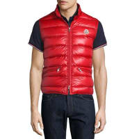 MonclerGui Nylon Puffer Vest, Red