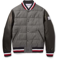 MonclerQuilted Wool And Leather Down Bomber Jacket - Gray