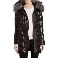 MonclerShiny Quilted Down Coat w/Fur Hood, Black