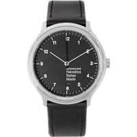 MondaineHelvetica No1 Stainless Steel And Leather Watch - Black