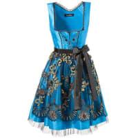 MondkiniDamen Mondkini Dirndl kurz mit bestickter Schürze blau Mit eingenähtem Petticoat