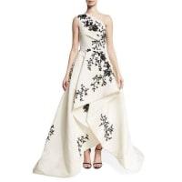 Monique LhuillierOne-Shoulder High-Low Draped Gown, White/Black