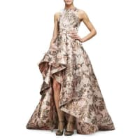 Monique LhuillierSleeveless Metallic-Tapestry High-Low Gown, Blush