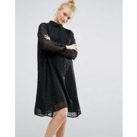 MonkiGlitter Spot Smock Dress - Black
