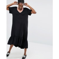 MonkiRuffle Hem T-Shirt Dress - Black