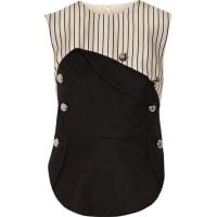 MonseLayered Pinstriped Silk-satin And Stretch Wool-blend Twill Top - Black