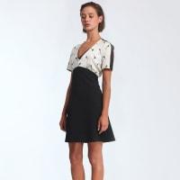 MorganSoepele jurk van 2 materialen