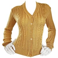 Moschino1990s Moschino Cheap & Chic Vintage Gold Metallic Ribbed Cardigan 90s Sweater