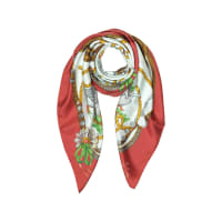MoschinoBoutique Moschino Geese & Horse Saddles Printed Twill Silk Square Scarf
