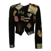MoschinoCouture! 1988 Black Wool Patchwork Embellished Jacket