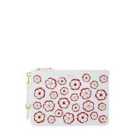 MoschinoFlower Appliqué Flat Clutch Bag, White/Multi
