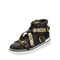 MoschinoMulti-Strap Leather High-Top Sneaker, Black
