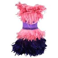 MoschinoSize 6 Pink & Purple Spring 2016 Feather & Velvet Cocktail Dress