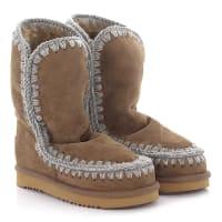 MouStiefeletten Boots Eskimo 24 Veloursleder braun Stricknaht grau Schafsfell