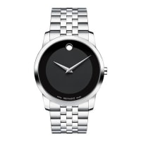 Movado40mm Museum Classic Watch, Silver/Black