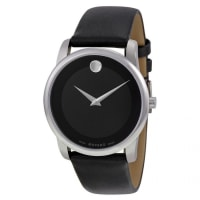 MovadoMuseum 0606502 Mens Black Dial Analog Quartz Watch With Leather Strap