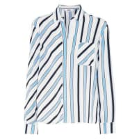 MsgmStriped Washed-silk Blouse - White