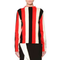 MsgmStriped Wool-Blend Pullover Sweater, Red