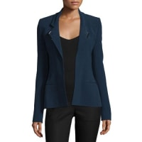 Thierry MuglerStrong-Shoulder Open-Front Jacket, Navy