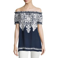 Naeem KhanEmbroidered Off-the-Shoulder Blouse, Navy/White