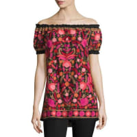 Naeem KhanOff-The-Shoulder Embroidered Peasant Top, Black/Red