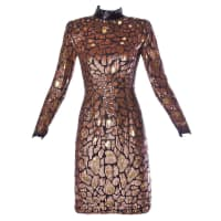 Naeem KhanRiazee Vintage Metallic Sequin + Beaded Cocktail Dress