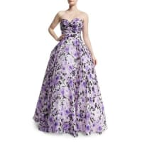 Naeem KhanSweetheart-Neck Strapless Floral-Print Gown, Purple/White