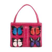 Nancy GonzalezSmall Butterfly Stripe Crocodile Frame Bag, Pink Multi