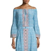 Nanette Lepore3/4-Sleeve Printed Silk Top, Blue/Multi