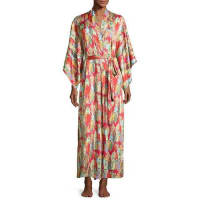 NatoriDynasty Pearl-Print Long Robe, Red/Multicolor