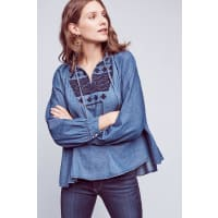 Ne Quittez PasEmbroidered Chambray Pullover