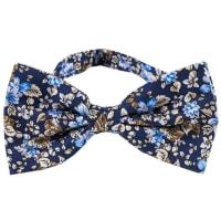 NeckwearFloral Bow Tie   Navy Blue