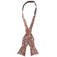 NeckwearSelf Tie Bow Tie Floral   Orange Blue