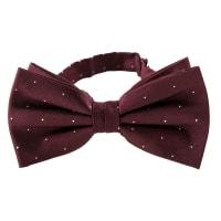 NeckwearSilk Bow Tie Dots   Burgundy