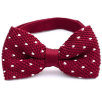 NeckwearKnitted Bow Tie Burgundy Small Dots
