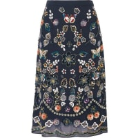 Needle & ThreadEmbellished Georgette Skirt - Midnight blue