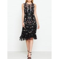 Needle & ThreadFloral Embellished Ombre Dress - Black, Size 6