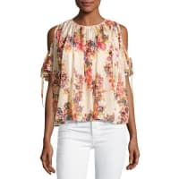 Needle & ThreadPrairie Rose Cold-Shoulder Chiffon Top, Pink