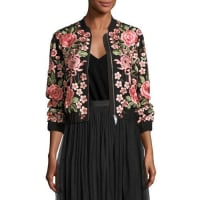 Needle & ThreadRose Embroidered Bomber Jacket, Black